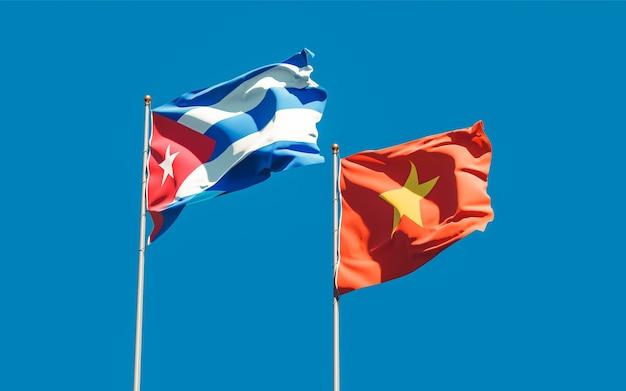 Drapeaux Du Vietnam Et De Cuba. Illustration 3d Photo Premium