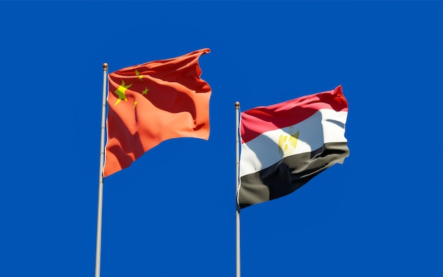 Drapeaux De L'égypte Et De La Chine. Illustration 3d Photo Premium