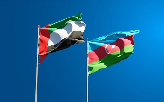Drapeaux Des états Nationaux Des émirats Arabes Unis, Des émirats Arabes Unis Et De L'azerbaïdjan Ensemble Photo Premium
