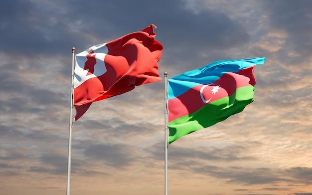 Drapeaux Des états Nationaux Des Tonga Et De L'azerbaïdjan Ensemble Photo Premium