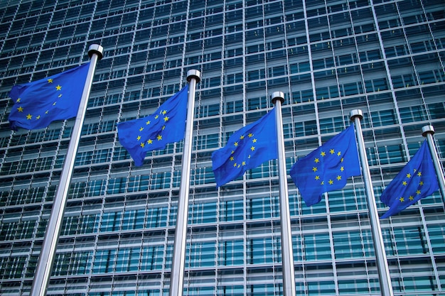 Drapeaux Européens Devant Le Bâtiment Berlaymont Photo Premium