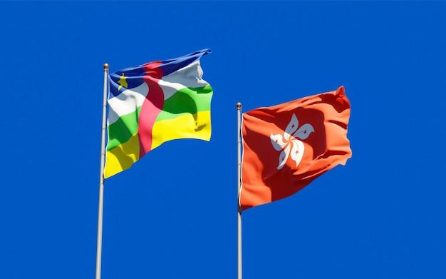 Drapeaux De Hong Kong Hk Et Rca République Centrafricaine. Photo Premium