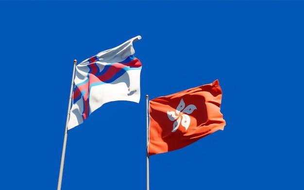 Drapeaux Des îles Féroé Et De Hong Kong Hk. Photo Premium