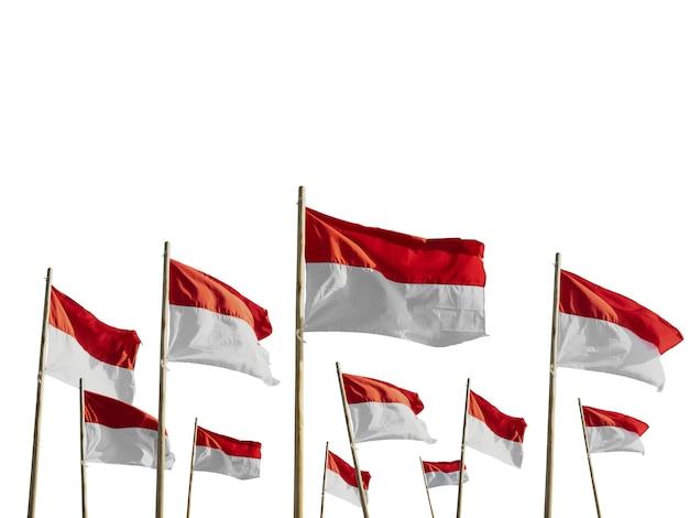 Drapeaux De L'indonésie Isolés Sur Blanc Photo Premium
