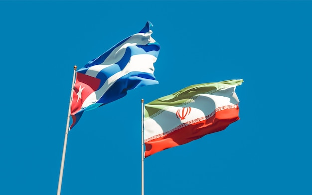 Drapeaux De L'iran Et De Cuba. Illustration 3d Photo Premium