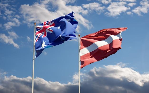 Drapeaux De La Lettonie Et De L'australie. Photo Premium