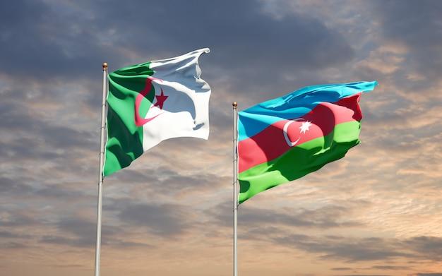 Drapeaux Nationaux De L'azerbaïdjan Et De L'algérie Photo Premium