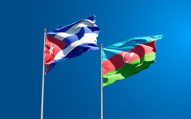 Drapeaux Nationaux De L'azerbaïdjan Et De Cuba Photo Premium