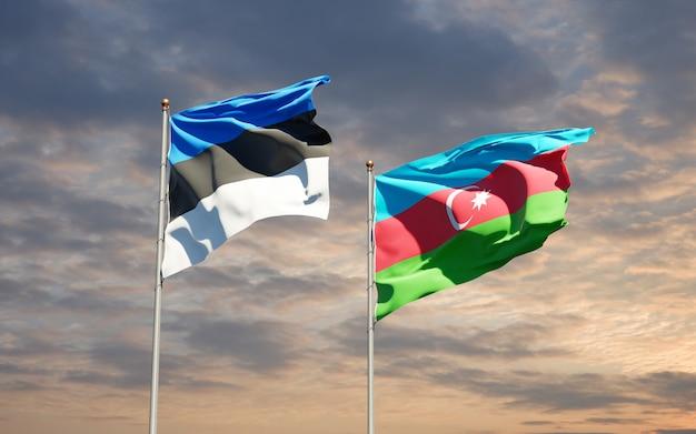 Drapeaux Nationaux De L'azerbaïdjan Et De L'estonie Ensemble Photo Premium