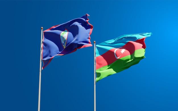 Drapeaux Nationaux De L'azerbaïdjan Et De Guam Ensemble Photo Premium