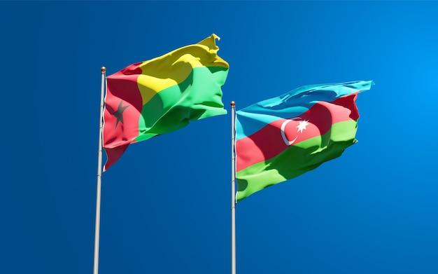 Drapeaux Nationaux De L'azerbaïdjan Et De La Guinée-bissau Ensemble Photo Premium