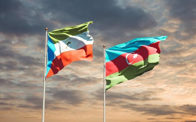 Drapeaux Nationaux De L'azerbaïdjan Et De La Guinée équatoriale Ensemble Photo Premium