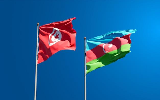 Drapeaux Nationaux De La Tunisie Et De L'azerbaïdjan Ensemble Photo Premium