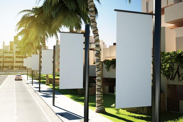 Drapeaux publicitaires blancs dans la rue Photo Premium