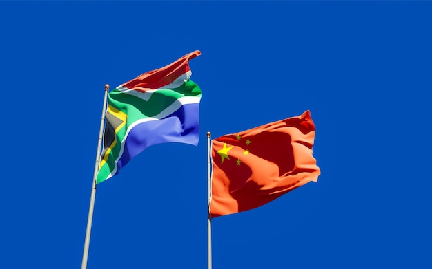Drapeaux De Sar D'afrique Et De Chine. Illustration 3d Photo Premium