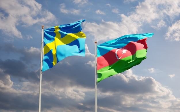Drapeaux De La Suède Et De L'azerbaïdjan. Photo Premium