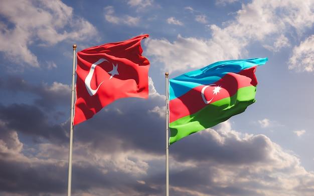 Drapeaux De La Turquie Et De L'azerbaïdjan. Illustration 3d Photo Premium