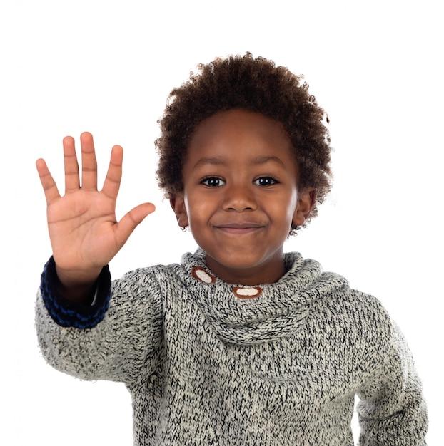 Drole Enfant Africain Disant Stop Photo Premium