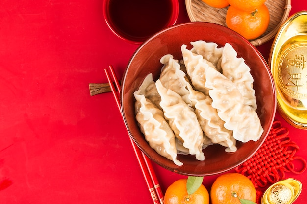 Dumplings For Chinese Spring Festival Chinese Grande Chance Bénédiction Photo Premium
