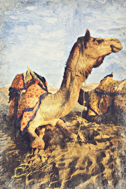 Dune de sable du désert de chameaux, inde. art numérique impasto peinture à l'huile par photographe Photo Premium