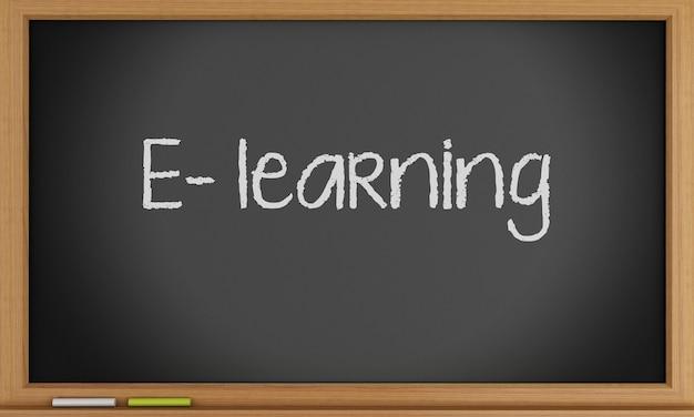E-learning écrit sur tableau noir. Photo Premium