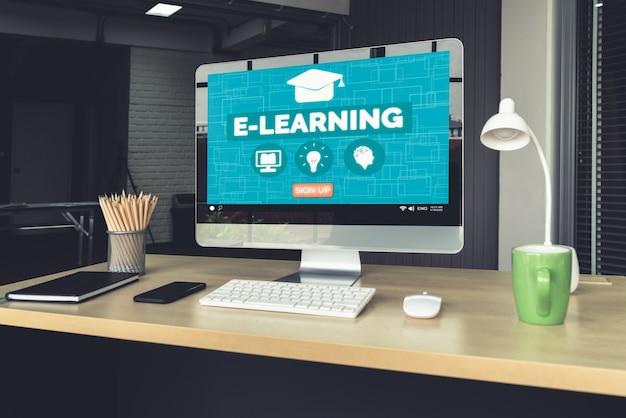 E-learning Et éducation En Ligne Pour Le Concept Des étudiants Et Des Universités. Photo Premium