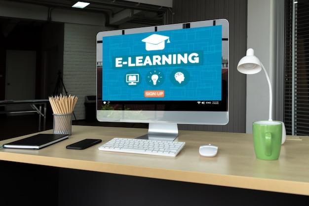 E-learning Et éducation En Ligne Pour étudiant Et Université Concept. Photo Premium