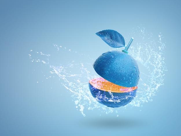 Eau éclaboussant sur la chaux bleue fraîche isolée sur fond bleu Photo Premium