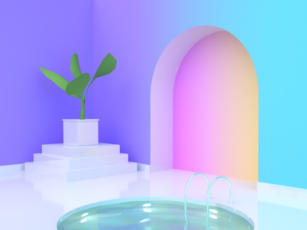 Eau Piscine Violetpurple Bleu Jaune Rose Dégradé Wallroom Rendu 3d Photo Premium