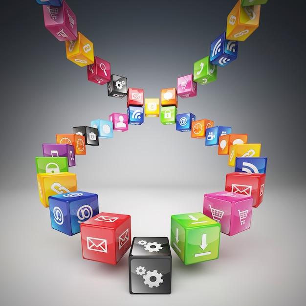 Échelle faite de cubes et d'icônes de couleurs différentes Photo Premium