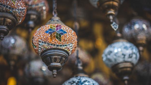 Éclairage de lampe de plafond turc traditionnel Photo Premium