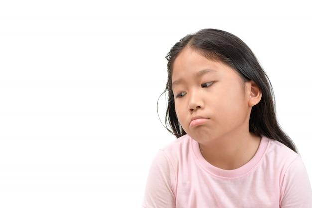 Écolière asiatique mignon ennuyé et fatigué (ennui) Photo Premium