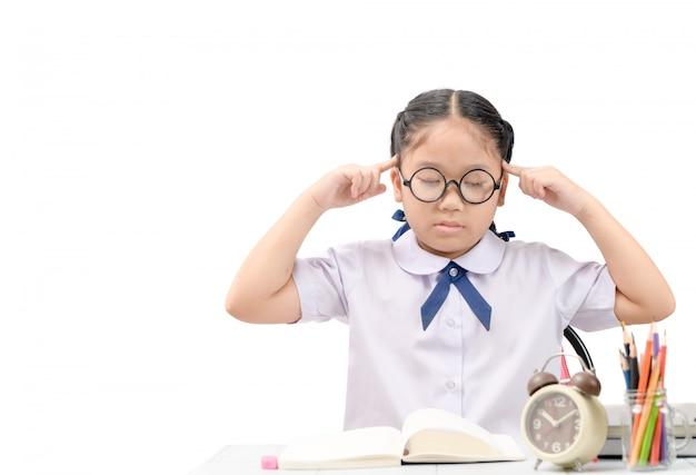 Écolière, pensée, mal tête, devoirs Photo Premium