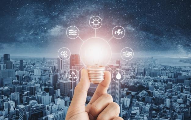Économie D'énergie, énergie Propre Et énergie Intelligente Photo Premium