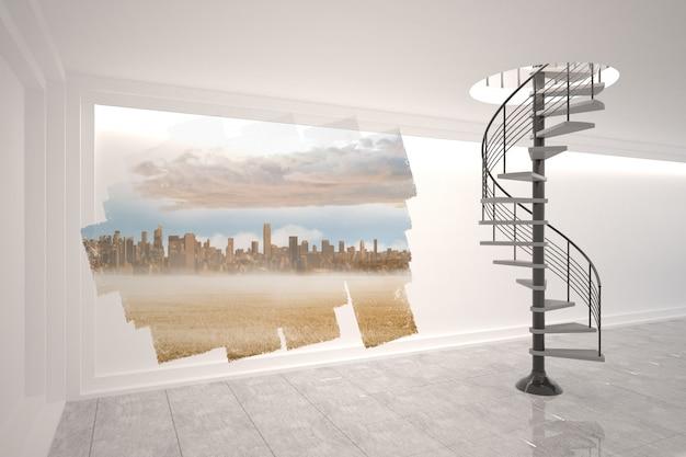 Écran abstrait dans la salle montrant le paysage urbain Photo Premium