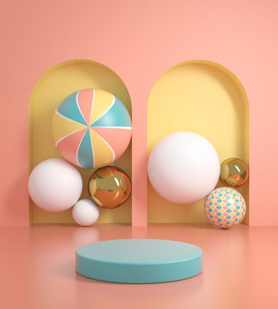 Écran Couleur Pastel De Plate-forme De Maquette Avec Rendu 3d De Fond De Boules Abstraites Photo Premium