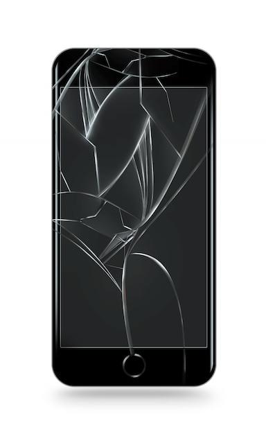 Écran de téléphone portable cassé isolé. Photo Premium