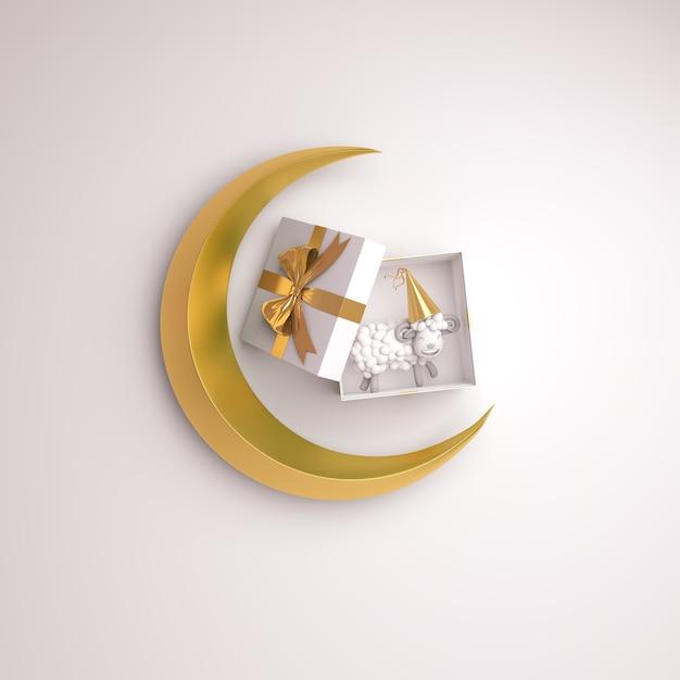 Eid Al Adha Mubarak Fond Avec Coffret Cadeau Croissant De Mouton Photo Premium
