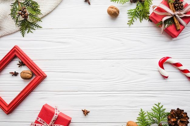 Élégant Fond De Noël Avec Un Espace Au Milieu Photo Premium