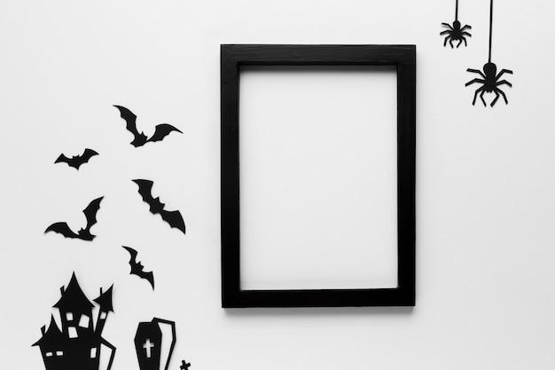 Éléments de fête d'halloween avec cadre Photo gratuit