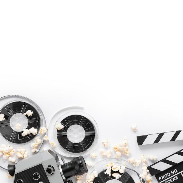Éléments De Film Sur Fond Blanc Avec Espace De Copie Photo gratuit