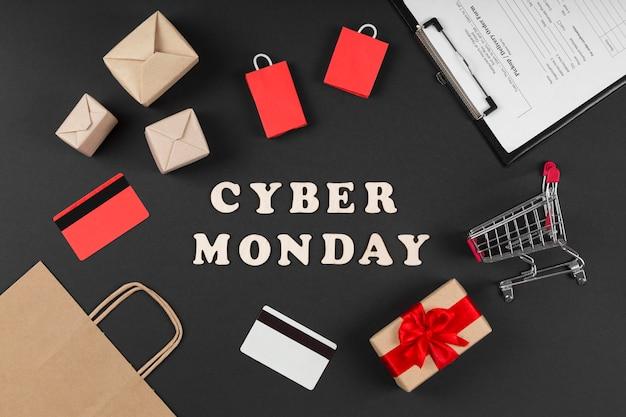 Éléments De Vente événement Cyber Monday Sur Fond Noir Photo gratuit