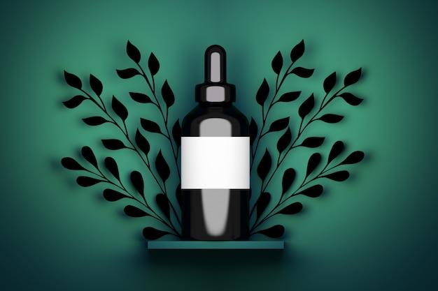 Emballage de bouteille noire cosmétique de sérum de vape de grande taille avec étiquette blanche et décoration de feuillage. illustration 3d Photo Premium