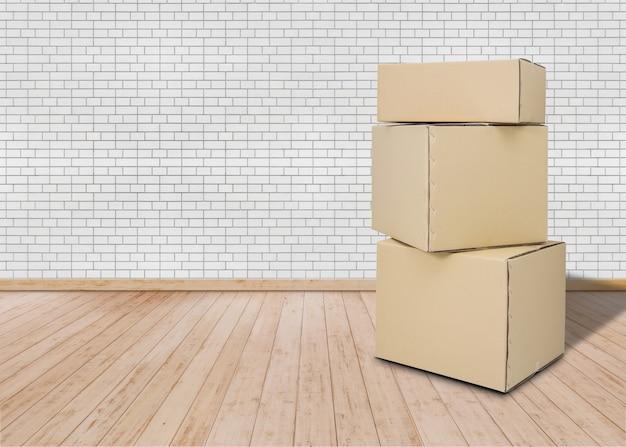 Emménager Dans Une Nouvelle Maison Pièce Vide Avec Des Boîtes De Carton Photo Premium
