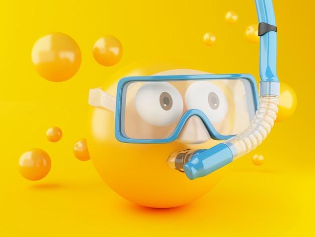 Emoji 3d avec plongée sous-marine. Photo Premium