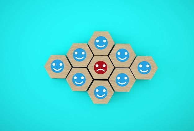 Émotions Face Bonheur Et Tristesse, Unique, Pensez Différemment. Cubes Hexagonaux En Bois Photo Premium