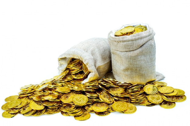 Empilement De Pièces D'or Dans Un Sac Au Trésor Sur Fond Blanc Photo Premium