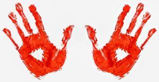 Empreintes de mains sanglantes empreintes Photo gratuit
