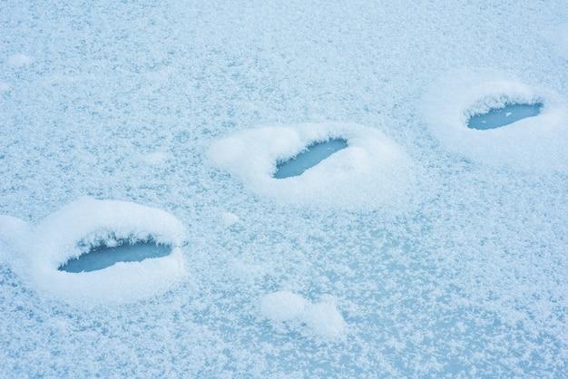 Empreintes de pas dans la neige Photo Premium