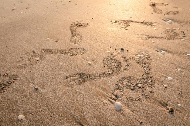 Empreintes de pas sur la plage. traces au coucher du soleil avec du sable doré. souvenirs des jours qui passent. Photo Premium